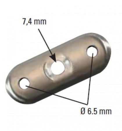 Handlaufanschlussplatte 63 x 25 x 4mm für 33,7mm Rohr