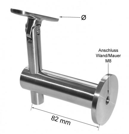 Handlaufhalter mit Gelenk für Wand/Mauer, Halteplatte individuell wählbar