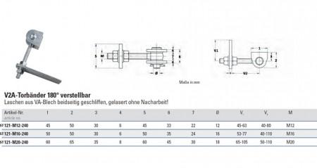 Torband M12, V2A geschliffen, 180° verstellbar, Abmessungen sind der Tabelle zu entnehmen