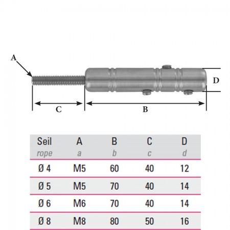 Edelstahl Gewindeterminal zur Selbstmontage V2A, Gewinde und Seilgröße frei wählbar