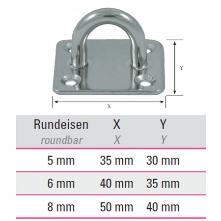 Edelstahl Befestigungsöse mit rechteckiger Platte  V4A, Größe frei wählbar