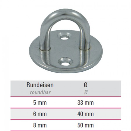 Edelstahl Befestigungsöse mit runder Platte V4A, Größe frei wählbar