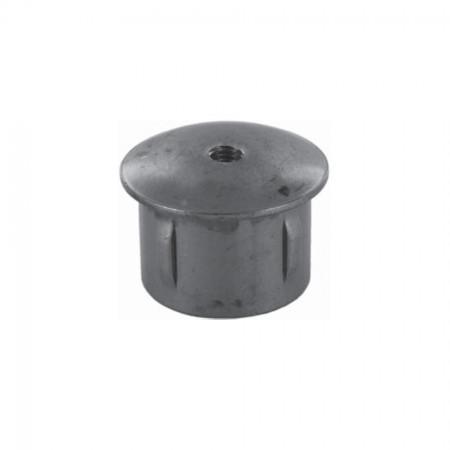 Rohrabschlussstopfen leicht gewölbt zum Einschlagen, mit Gewinde M8, ST37 blank, Wandstärke frei wählbar, für Rohr 42,4mm