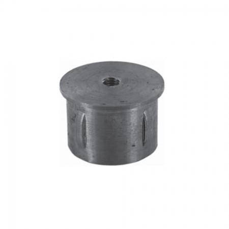 Rohrabschlussstopfen flach zum Einschlagen, mit Gewinde M8, ST37 blank, Wandstärke frei wählbar, für Rohr 33,7mm