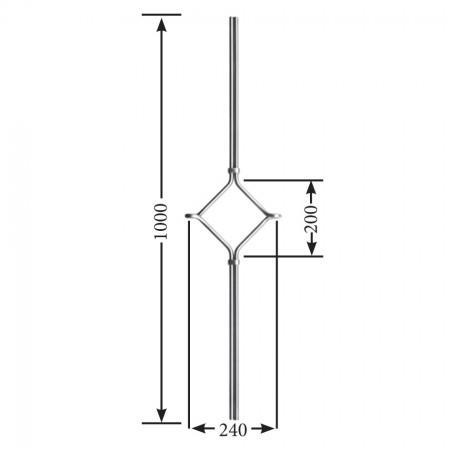 Designstab / Ösenstab Mittel-Ornament V2A, Material Ø 12mm, Länge 1000mm