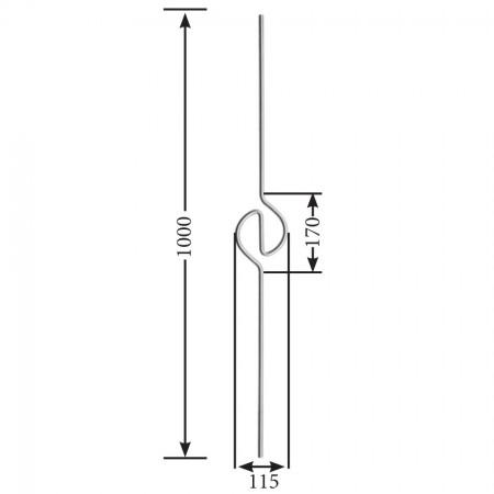 Designstab / Ornament mittig V2A, Material Ø 12mm, Länge 1000mm