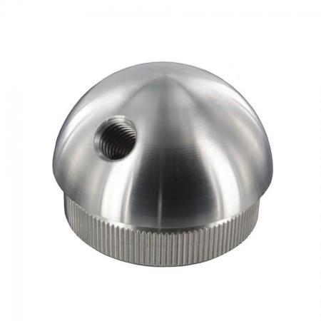 Rohrabschlussstopfen V2A, Vollmaterial, halbrund zum Einschlagen, mit Gewinde M8, 45° versetzt, Rohrgröße frei wählbar