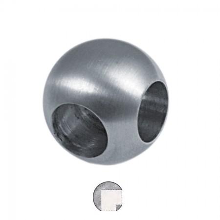Kugel V2A Vollmaterial mit 2 x 90° Bohrung, Sackloch 12,2mm  und Durchmesser Ø 25mm