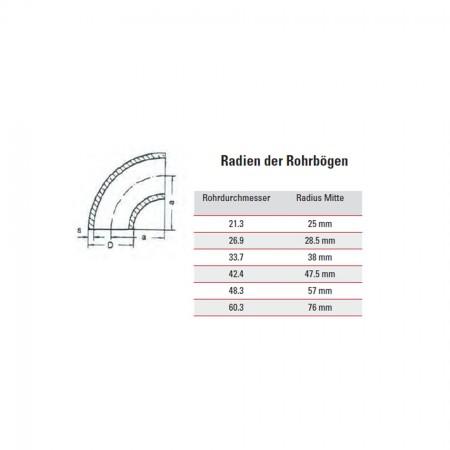 Edelstahl Schweißfitting 180° Bogen, geschliffen Korn 240 V2A, Rohrgröße frei wählbar