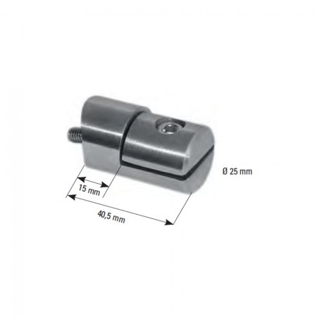 Blechhalter V2A Ø 25mm, Anschluss für 33,7mm, Gewinde M6, für Blech 1,5 - 2,5mm
