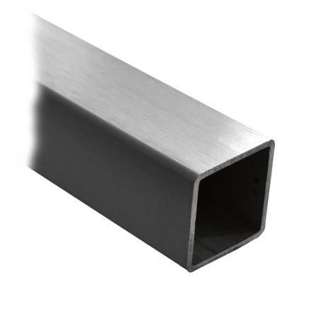 V2A Vierkantrohr 40 x 40 x 2,0mm Korn 240 geschliffen, Länge frei wählbar