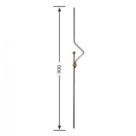 Designstab / Zierstab V2A, Material Ø 12mm, Länge 900mm,  vergoldeter Bund
