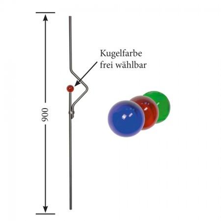 Designstab / Zierstab V2A, Material Ø 12mm, Länge 900mm, Kugelfarbe frei wählbar