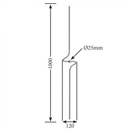 Designstab / Zierstab V2A, Material Ø 12mm, Länge 1000mm, mit Kugel Ø 25mm