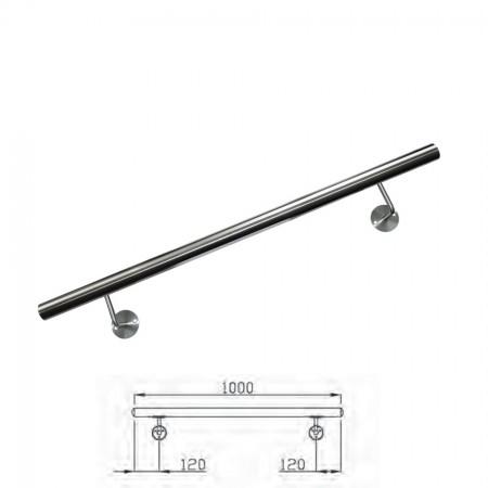 Handlauf V2A inkl. Rohr, Endkappen, Handlaufstützen (montagefertig) Länge 100cm