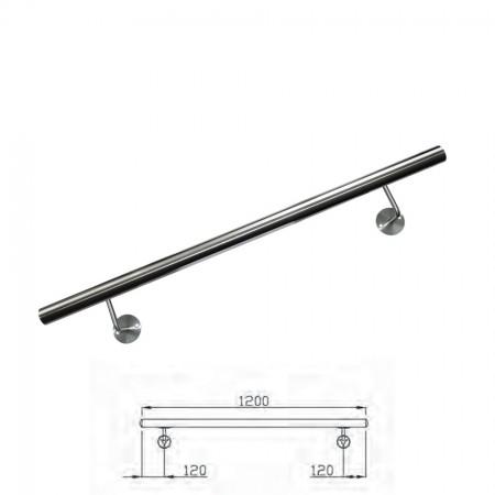 Handlauf V2A inkl. Rohr, Endkappen, Handlaufstützen (montagefertig) Länge 120cm