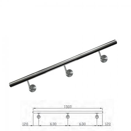 Handlauf V2A inkl. Rohr, Endkappen, Handlaufstützen (montagefertig) Länge 150cm