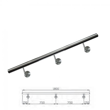Handlauf V2A inkl. Rohr, Endkappen, Handlaufstützen (montagefertig) Länge 180cm