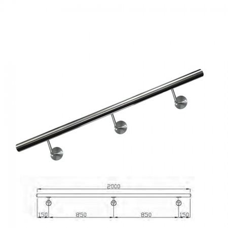 Handlauf V2A inkl. Rohr, Endkappen, Handlaufstützen (montagefertig) Länge 200cm
