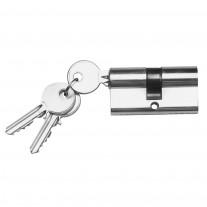 Schließzylinder Edelstahloptik  mit 3 Schlüsseln, Größe wählbar