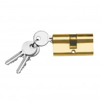 Messing Schließzylinder mit 3 Schlüsseln, Größe wählbar